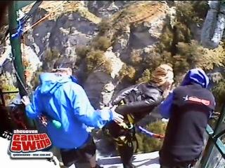 """Canyon swing.Videorolik o tom,kak ya prignula v kanyon 109 metra glubinoy na """"tarzanke"""":)Novaya Zelandiya."""